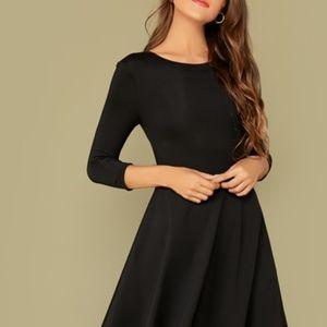 Solid V-Back Fit And Flare Dress